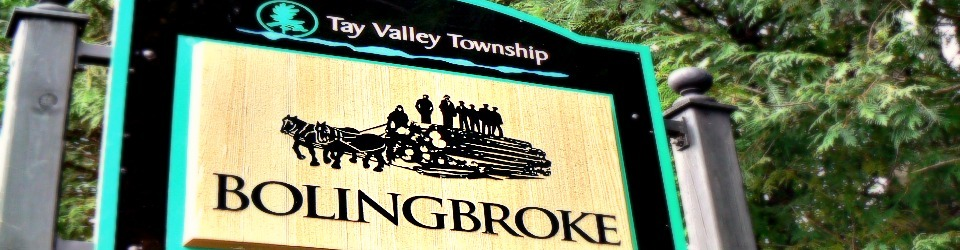 The Bolingbroke sign at the corner of Crow Lake and Bolingbroke Roads.